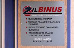 Žilbinus- buhalterinės apskaitos paslaugos- iškaba, darbo laikas